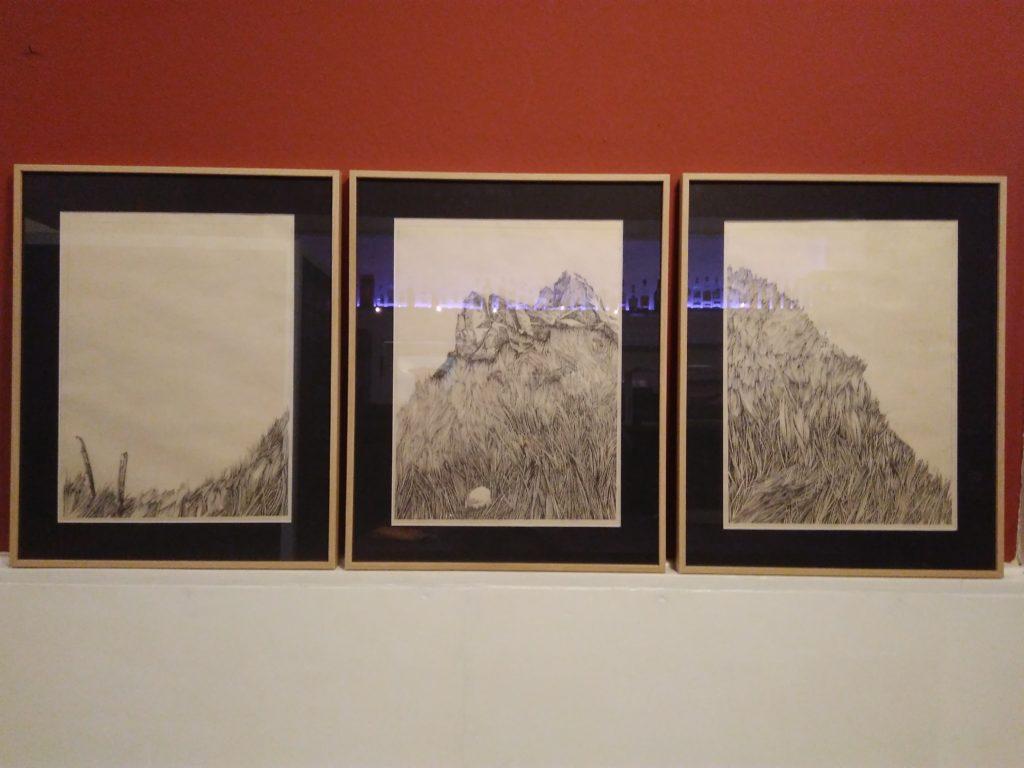 Rahmen, Triptychon, Japanpapier, Zeichnung