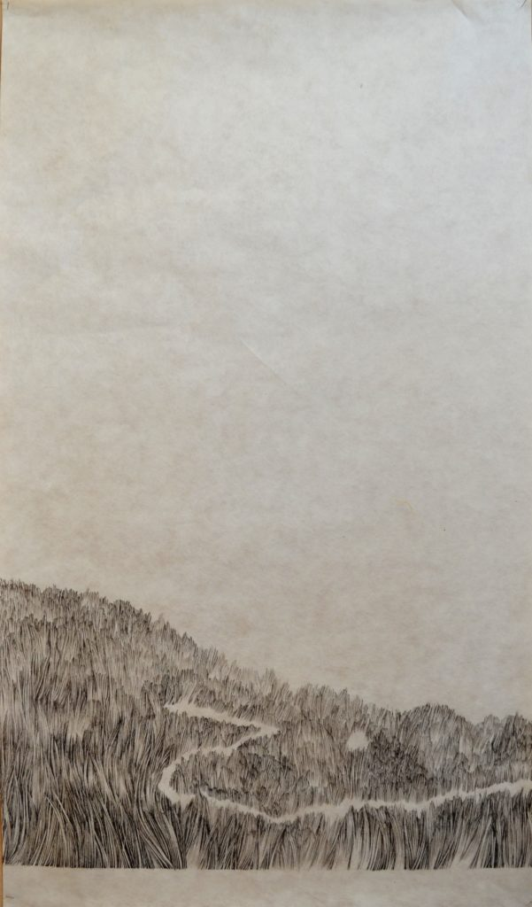Ink, Japanese paper, path, mountain, explore