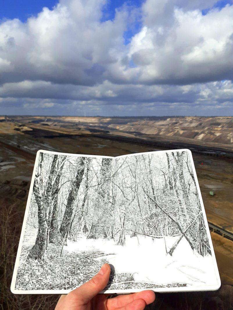 Emmanuel Henninger, Hambach Forest, Chinese ink on Moleskine paper