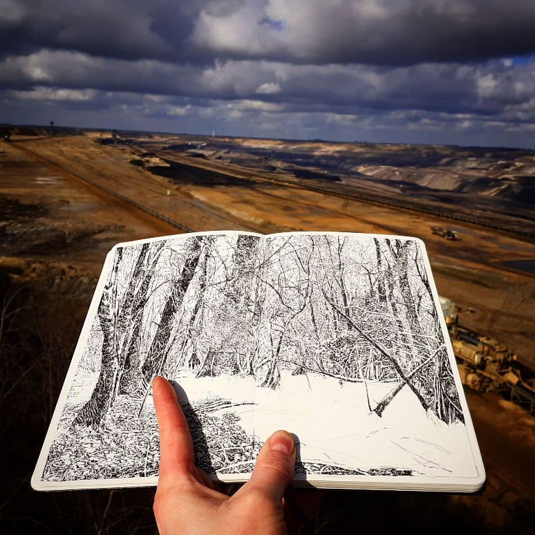 Emmanuel Henninger, Hambach Forest Chinese ink on Moleskine paper, Art, Draw