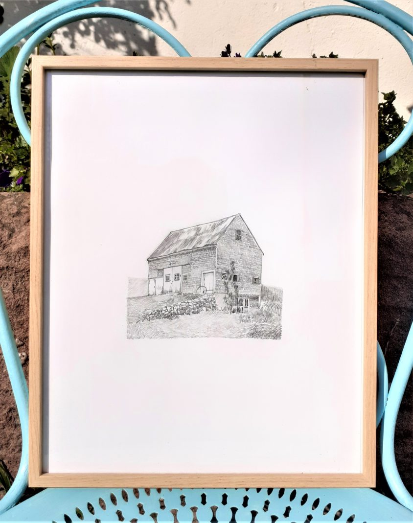 Emmanuel Henninger, Draw, Drawing, Mount Desert Island, Maine, Fisherman, Houses, Art, Graphite, Contemporary art, France