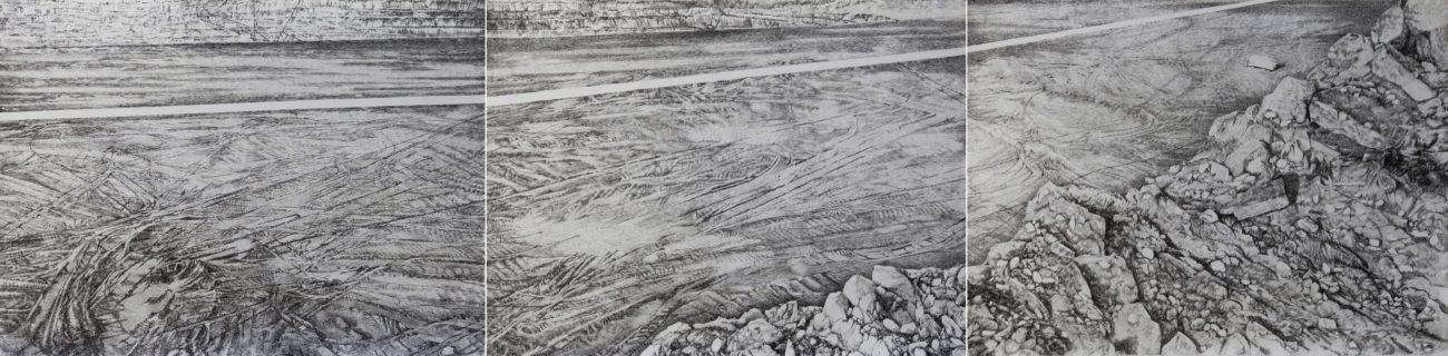 Panorama, emmanuel henninger, art, dessin, dessiner, noir, charbon, paysage, allemagne