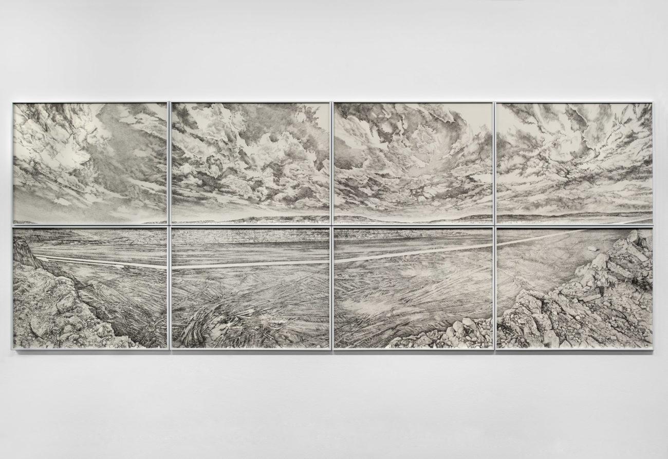 Open pit mine, Emmanuel Henninger, Henninger, Encre de Chine, Panorama, allemagne, dessin, contemporain, art, noir et blanc